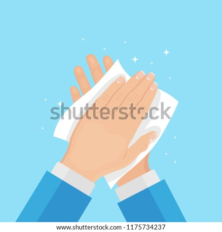 Drying hand with towel. Wipe skin by napkin, paper tissue. Healthcare. Washing hands. Handwashing. Clean arm isolated on background. Personal hygiene. Disinfection, skin care. Vector flat illustration
