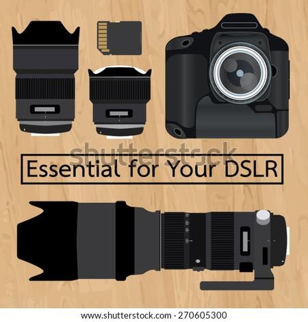 dslr vector camera set