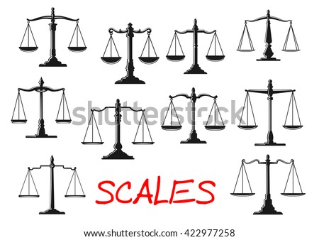 dual balance scales icons with...