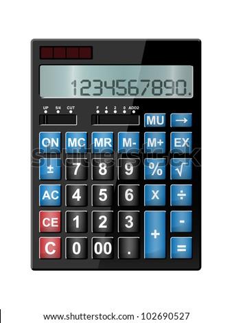 dual power shiny, basic pocket calculator isolated on white background