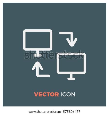 dual screen line vector icon