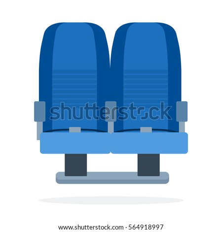 Dual seats aircraft vector flat material design object. Isolated illustration on white background.