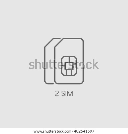 dual sim icon sign double sim