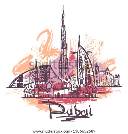 Dubai abstract color drawing. Dubai sketch vector illustration isolated on white background.