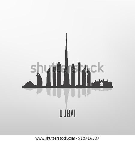 Dubai architecture skyline silhouette