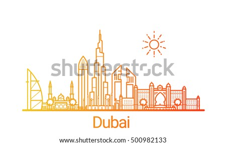 dubai city colored gradient