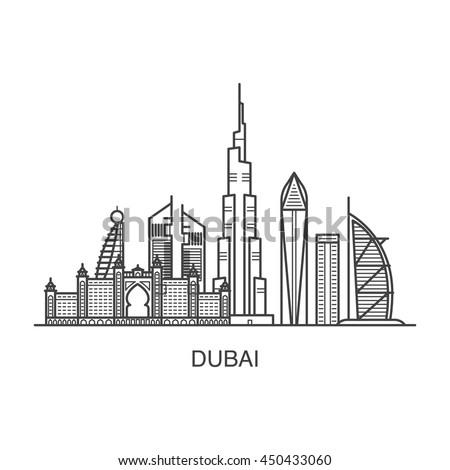 dubai city line art