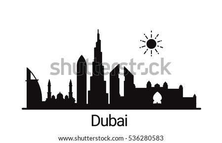dubai city outline skyline all