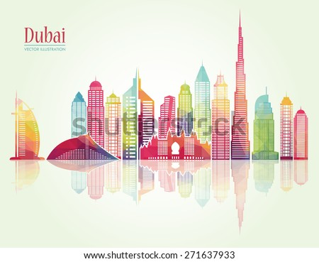 dubai city skyline detailed