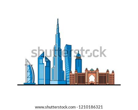 dubai city vector flat design