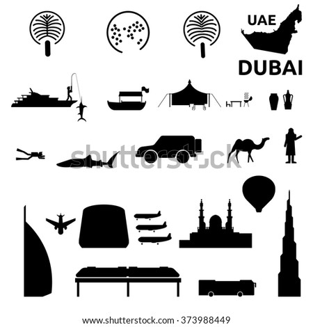 Dubai icon set.Adventure desert safari, bus city tour, yacht, hot air balloon, mosque, culture, transportation, fishing, diving, camp desert