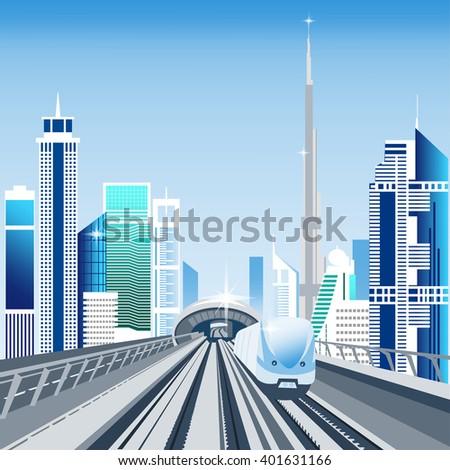 Dubai metro train and cityscape with skyscrapers vector illustration