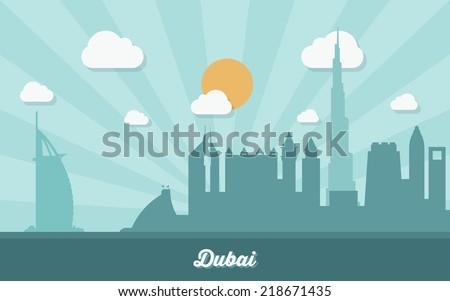 dubai skyline   flat design
