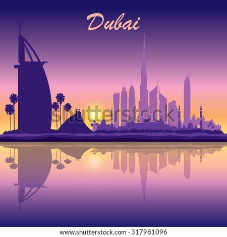 dubai skyline silhouette on