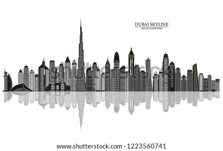 Dubai skyline. UAE Urban cityscape. Travel and tourism background. Vector illustration