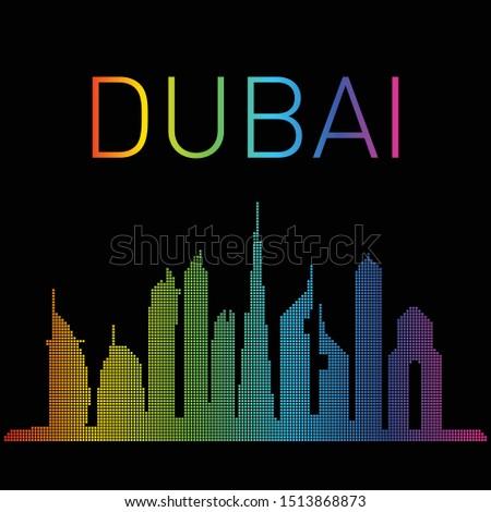 Dubai skyline vector colourful pattern