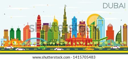 Dubai UAE City Skyline with Color Buildings and Blue Sky. Vector Illustration. Business Travel and Tourism Concept with Modern Architecture. Dubai Cityscape with Landmarks.