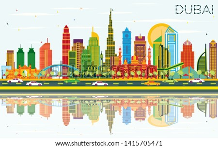 Dubai UAE City Skyline with Color Buildings, Blue Sky and Reflections. Vector Illustration. Business Travel and Tourism Concept with Modern Architecture. Dubai Cityscape with Landmarks.