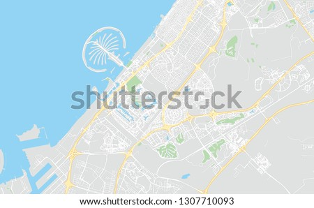 Dubai, UAE, classic colors, printable map, designed as a high quality background for high contrast icons and information in the foreground.
