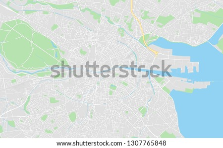 Dublin, Ireland, printable map, designed as a high quality background for high contrast icons and information in the foreground.