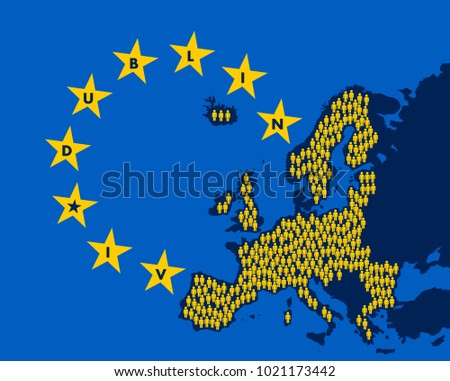 Dublin IV - European union and regulation and convention to distribute refugees, migrants and immigrant in the territory of EU and Europe. Vector illustration