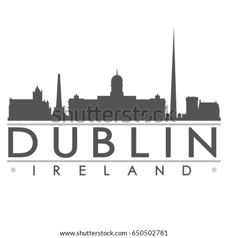 Dublin Skyline Silhouette Skyline Stamp Vector City Design