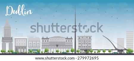 dublin skyline with grey