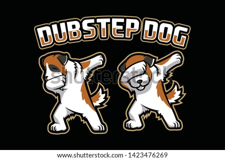 Dubstep Dog mascot logo design isolated on black background