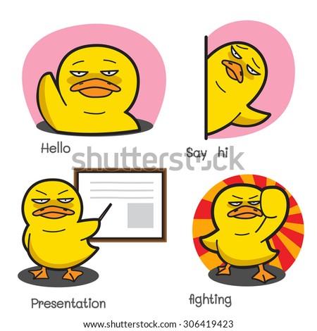 duck cartoon vector set 2