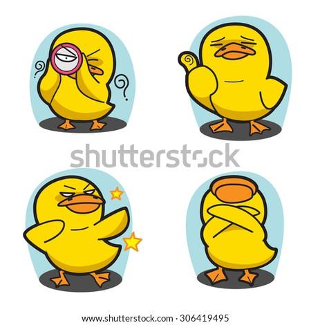 duck cartoon vector set 4