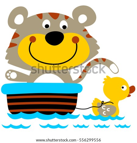 Stock Photo duck draw a cat with a tub on the water vector cartoon