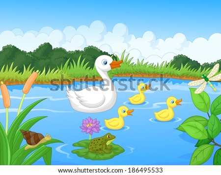 duck family cartoon swimming