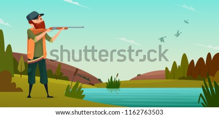 Duck hunting background. Cartoon illustration of hunter on hunt. Vector hunter bird shoot to target outdoor