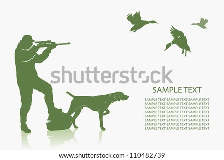 Duck hunting background - vector illustration