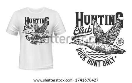 Duck hunting t-shirt print, hunters club vector mascot symbol. Flying mallard on pond and monochrome typography on white apparel. Wild waterfawl hunting adventure sport, t-shirt template design Stockfoto ©