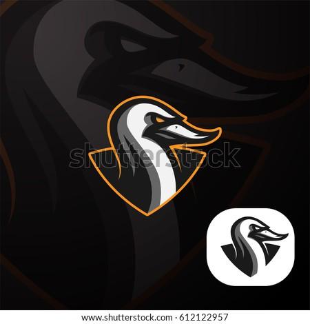 duck sports logo mascot badge