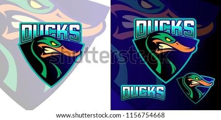 Duck sports logo vector mascot design element. Easy to edit