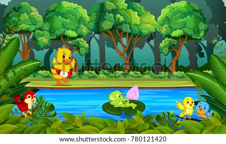 stock-vector-duck-swimming-in-the-river