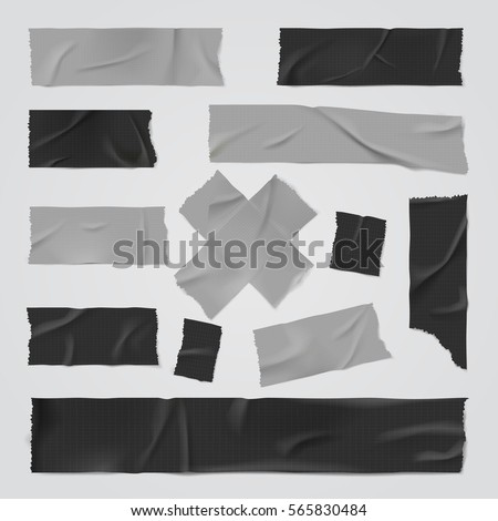 Duct adhesive tape silver and black realistic isolated vector illustration