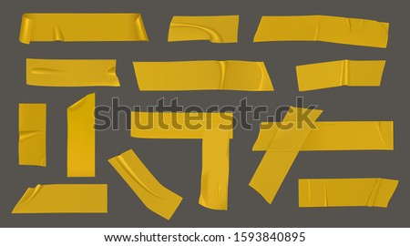 Duct tape pieces. Insulating yellow adhesive stripes attached with wrinkles and unstuck curled edges. Vector realistic set of sticky scotch for packaging, fix or repair isolated on gray background Photo stock ©