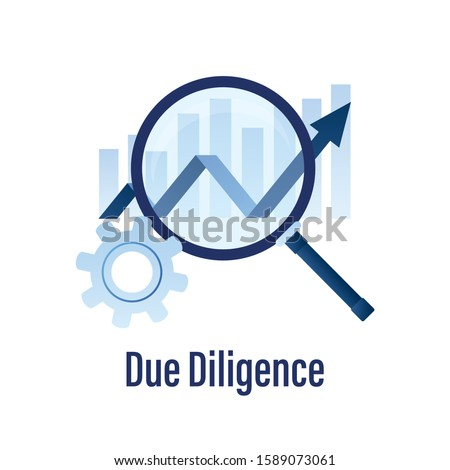 Due Diligence Icon or Logo. Template for web or banner. Trendy blue color style. Isolated on white background. Vector illustration Foto stock ©