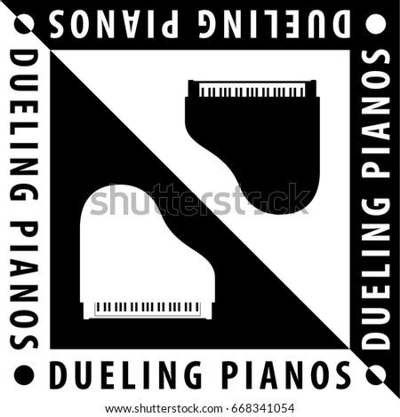 dueling pianos logo creative