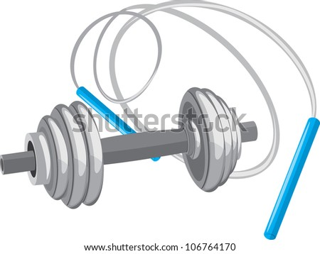 Dumbbell and jumping rope. Vector