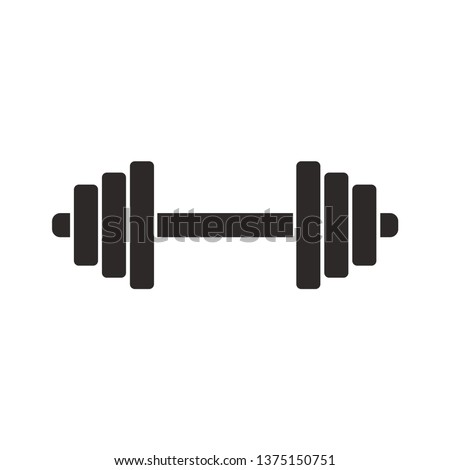 Dumbbell. Black silhouette. Vector drawing. Isolated object on white background. Isolate.