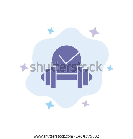 Dumbbell, Healthcare, Dumb, Sport Blue Icon on Abstract Cloud Background. Vector Icon Template background