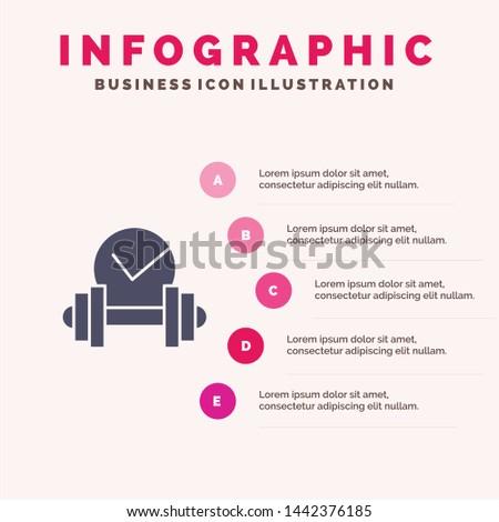 Dumbbell, Healthcare, Dumb, Sport Solid Icon Infographics 5 Steps Presentation Background