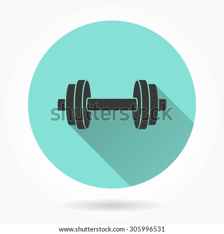 Dumbbell  icon with long shadow, flat design. Vector illustration.