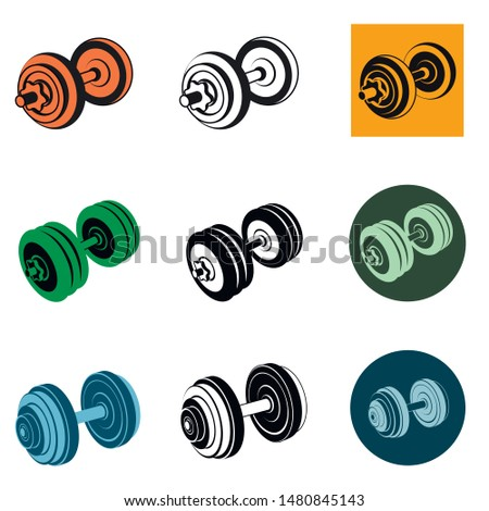 dumbbell icons. set of various dumbbells. sports equipment. black line isolated on white. flat design adapted for web sites and mobile applications. vector image.