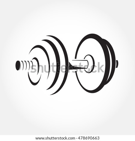 Dumbbell sketch vector. Fitness logo symbol. Gym icon. Stylized illustration.