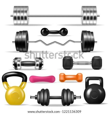 Dumbbell vector fitness gym weight equipment dumb-bells kettlebell illustration bodybuilding set of heavy barbell sport workout isolated on white background